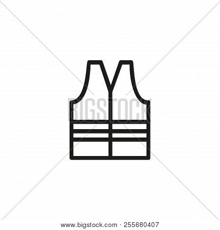 Safety vest line icon. Road worker, protective workwear, construction worker. Construction concept. Vector illustration can be used for topics like building, safety, service poster