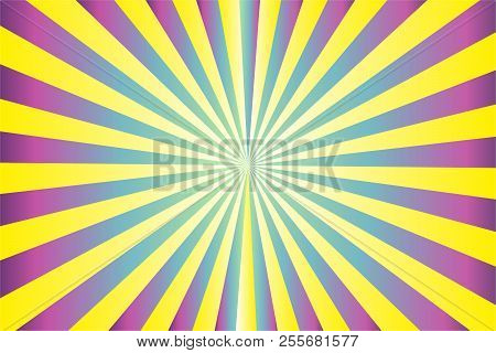 Abstract Sunburst Pattern, Gradient Yellow, Violet (purple, Magenta), Green, Blue Ray Colors. Vector