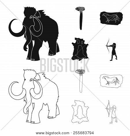 Primitive, mammoth, weapons, hammer .Stone age set collection icons in black, outline style vector symbol stock illustration web. poster