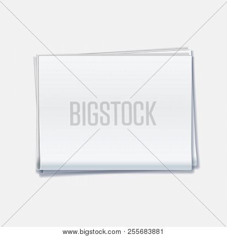 Blank Newspaper On White Background. Realistic Newspaper Empty Mockup