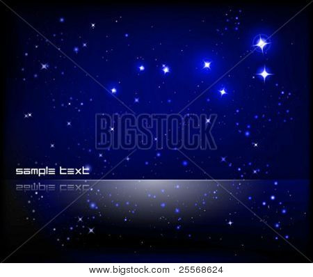 vector starry sky and Great Bear constellation