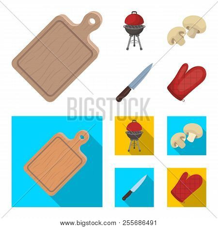 Barbeque Grill, Champignons, Knife, Barbecue Mitten.bbq Set Collection Icons In Cartoon, Flat Style