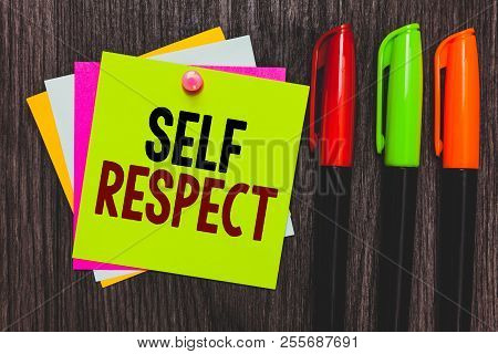 Conceptual Hand Writing Showing Self Respect. Business Photo Showcasing Pride And Confidence In Ones