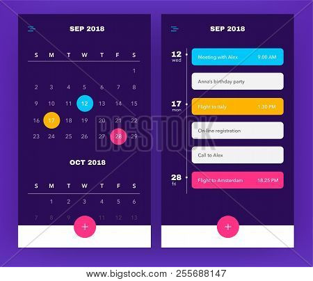 Calendar Application Template With To Do List And Tasks Ui Ux. Design For Mobile Phone. To Do App. E