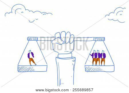 Human Hand Holding Balance Scales Business Importance Valuable Human Asset Concept Sketch Doodle Hor