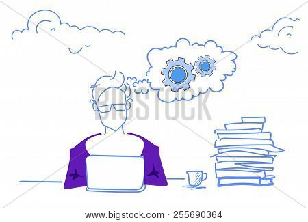 Businessman Working Brainstorming Process Cogwheel Mechanism Hardworking Procession Generation Conce