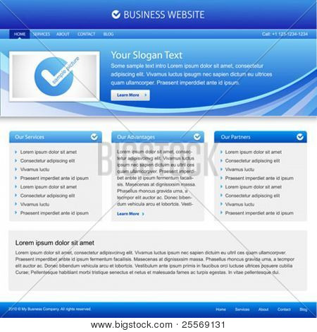 business website template with grids on a layout