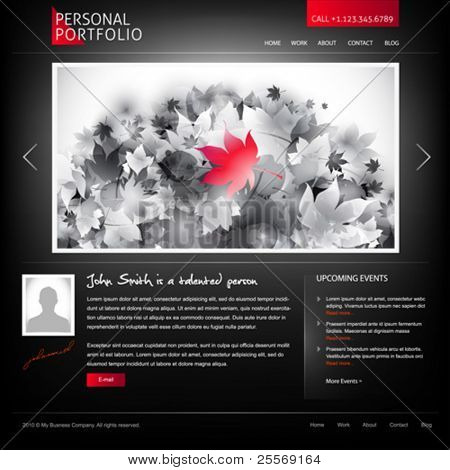 black stylish website template for personal portfolio - perfect for photographers and designers