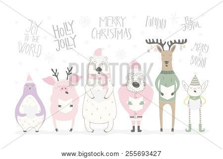 Hand Drawn Vector Illustration Of A Cute Funny Singing Santa, Elf, Animals, With Different Christmas