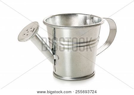 Galvanized Watering Can Isolated On White Background