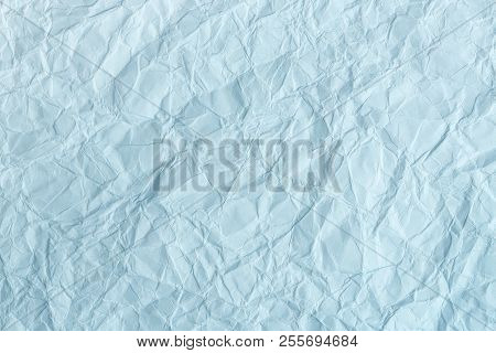 Cyan Crumpled Paper Surface For Background Use