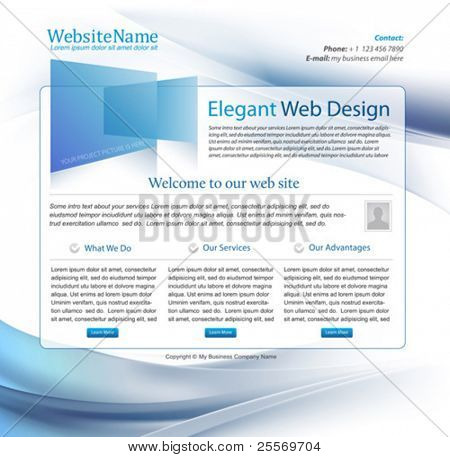 blue business website template design with wavy background