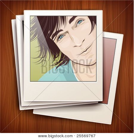 vintage photo frame with a portrait on a wooden background