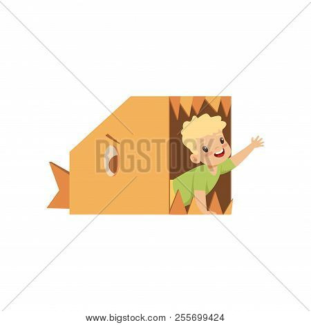Cute Boy Playing Inside A Toothy Fish Made Of Cardboard Boxes Vector Illustration On A White Backgro