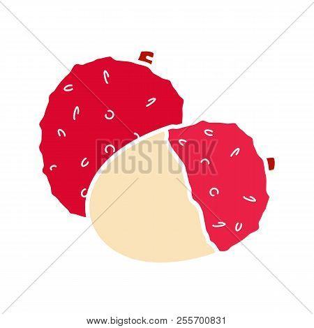 Lychee Glyph Color Icon. Silhouette Symbol On White Background With No Outline. Negative Space. Vect