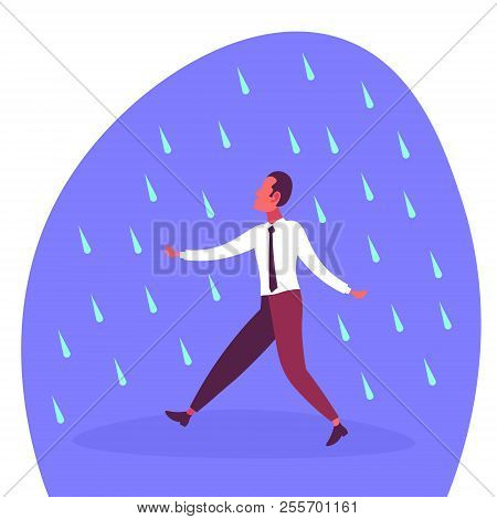 Businessman running under rain unprotected rainy day problem concept flat cartoon character poster