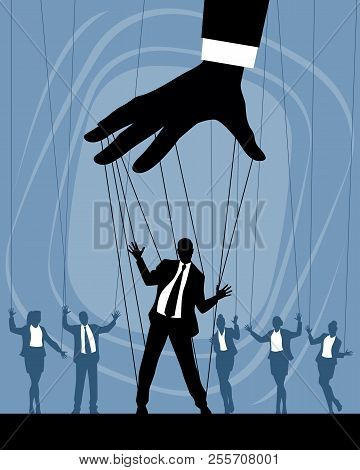 Vector Illustration Of Silhouettes Of Business Puppets