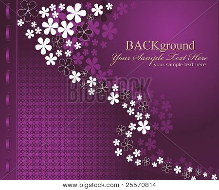 Vector purple background with flowers