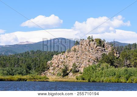 Lake Nokomas. Scenic Landscape Of The Northern Colorado Laramie Mountains.