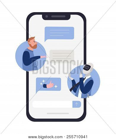 Bearded Man Talking To Robot Or Android And Chat Messages On Smartphone Screen. Concept Of Chatbot C