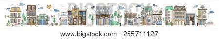 Horizontal Urban Landscape With City Or Town Street Or Neighborhood. Cityscape With Residential Hous