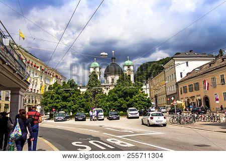 Salzburg, Austria - July 15,2017: Group Of Tourists Opposite