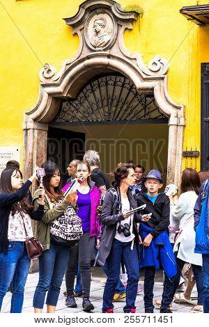 Salzburg, Austria - July 15, 2017: Tourists Near Birthplace Of Wolfgang Amadeus Mozart(composer); Mo
