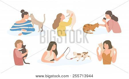 Bundle Of Pretty Young Girls And Their Cats Isolated On White Background. Set Of Portraits Of Adorab