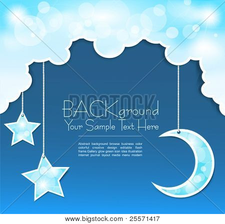 Vector blue background with clouds, the new moon and the stars