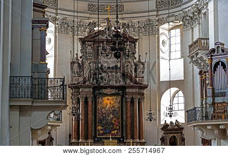 Salzburg, Austria - July 15, 2017: Interior Of Baroque Cathedral Of The Roman Catholic Archdiocese,