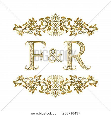 F And R Vintage Initials Logo Symbol. The Letters Are Surrounded By Ornamental Elements. Wedding Or