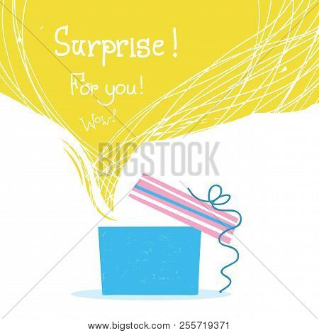 Gift Box With Ribbon And Big Yellow Bubble Background For Text