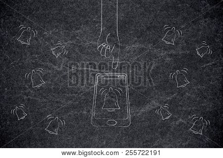 Push Notifications Settings And Marketing Conceptual Illustration: Smartphone With Notification Bell