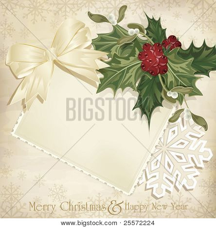 vector vintage christmas background with sprig of European holly and ribbon