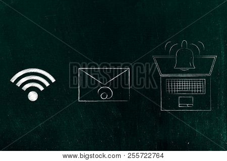 Push Notifications Settings And Marketing Conceptual Illustration: Wi-fi Next To Email And Laptop Wi