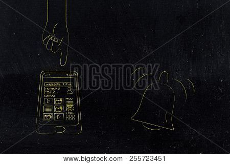 Push Notifications Settings And Marketing Conceptual Illustration: Website Page On Smartphone Screen
