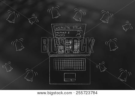 Push Notifications Settings And Marketing Conceptual Illustration: Website Popping Out Of  Laptop Sc