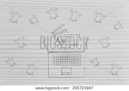 Push Notifications Settings And Marketing Conceptual Illustration: Laptop With Social Media Content