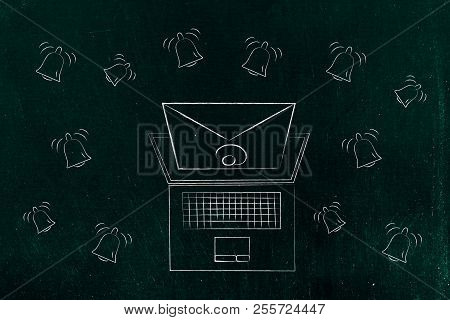 Push Notifications Settings And Marketing Conceptual Illustration: Email Popping Out Of Laptop Scree