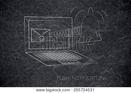 Push Notifications Settings And Marketing Conceptual Illustration: Laptop With Email On The Screen A