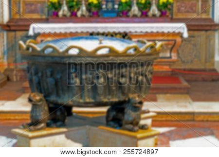 Salzburg, Austria - July 15, 2017: Blurred View Of Interior Of Baroque Cathedral Of The Roman Cathol