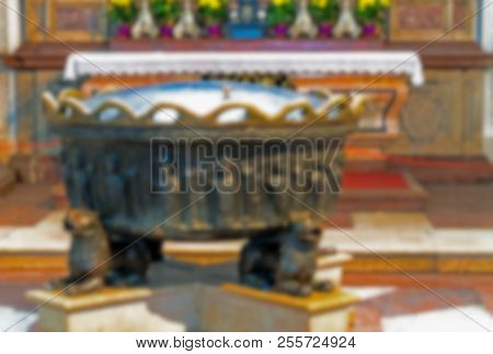 Salzburg, Austria - July 15, 2017: Blurred View Of Baptismal Font In Baptistry At Baroque Cathedral