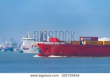 Rotterdam, Netherlands - May 6, 2017: Containership Entering The Rotterdam Harbor