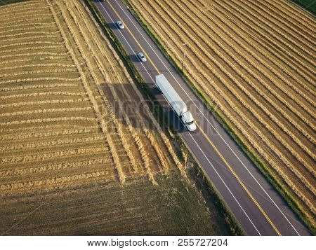 18 Wheeler White On Highway Aerial Drone Photography View