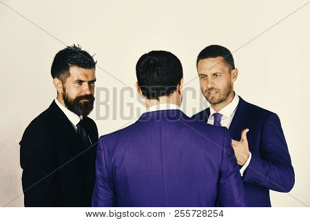 Leaders Have Argument On Light Grey Background. Business And Negotiation Concept. Men With Beard And