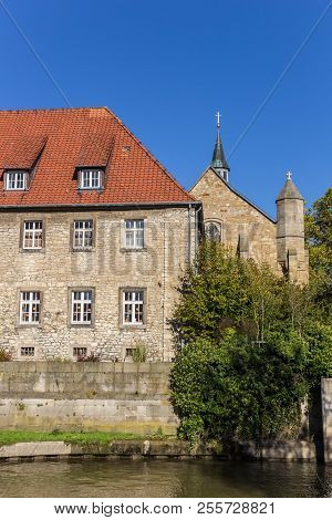 Historic House At A Canal In Hildesheim, Germany