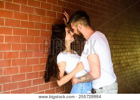 No Rules For Them. Couple Enjoy Intimacy Without Witnesses Public Place. Girl And Hipster Full Of De