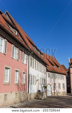 Pink And White Houses At The Domhof Square In Hildesheim, Germany