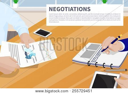 Negotiation Colorful Banner Vector Illustration Strategy Text Charts Diagram, Analytics And Statisti