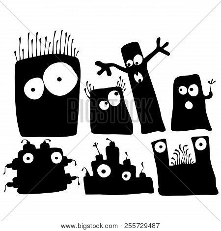 Black Silhouette Monsters And Robots Cartoon Sticker Set Isolated